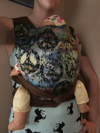 DIY Infant/Standard size mei tai. Tie Dye Peace sign pattern with brown duck cloth padded straps and waist. $40